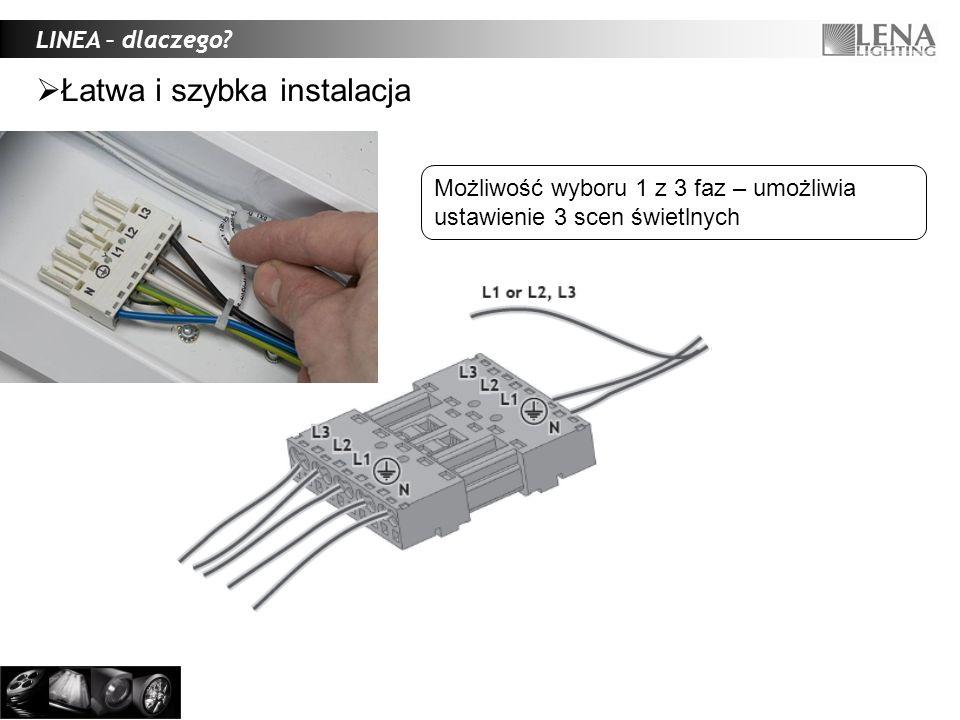 1.Montaż bez narzędzi oszczędność czasu 2.Stateczniki elektroniczne oszczędność energii, brak efektu stroboskopowego, szybszy zapłon 3.Modele 1,5m (1/2x58W) i 3m (2x1/2x58W) szybszy montaż, możliwość konfiguracji 4.Możliwość podłączania oprawy do 1 z 3 faz elastyczność poziomu oświetlenia w zależności od potrzeb, oszczędność energii 5.Intuicyjnie sposób montażu mechanicznego i elektrycznego uniknięcie błędów połączeniowych 6.Duża sztywność linii świetlnej, rzadsze zwieszaki szybszy czas montażu 7.Opcjonalnie – odbłyśnik, przesłona PMMA, wersje z okablowaniem 7-polowym Wysoka funkcjonalność LINEA – dlaczego?