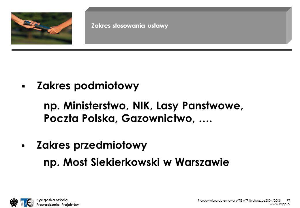Pracownia problemowa WTiE ATR Bydgoszcz 2004/2005 Bydgoska Szkola Prowadzenia Projektów www.bspp.pl 12 Zakres stosowania ustawy Zakres podmiotowy Zakres przedmiotowy np.