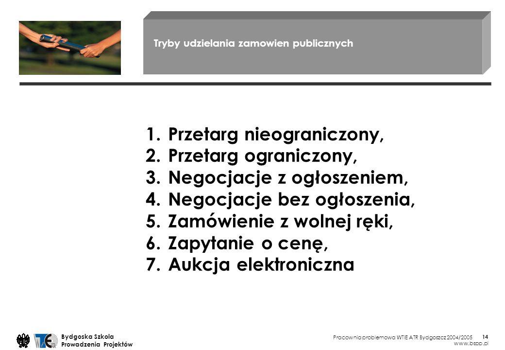 Pracownia problemowa WTiE ATR Bydgoszcz 2004/2005 Bydgoska Szkola Prowadzenia Projektów www.bspp.pl 14 Tryby udzielania zamowien publicznych 1.