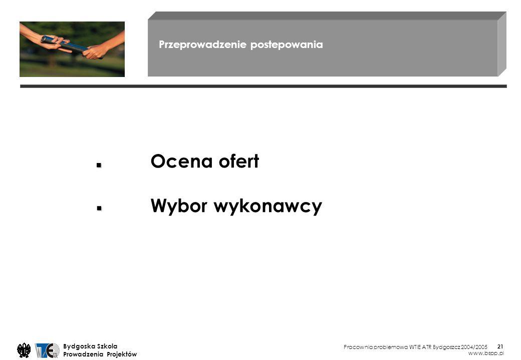 Pracownia problemowa WTiE ATR Bydgoszcz 2004/2005 Bydgoska Szkola Prowadzenia Projektów www.bspp.pl 21 Przeprowadzenie postepowania Ocena ofert Wybor wykonawcy