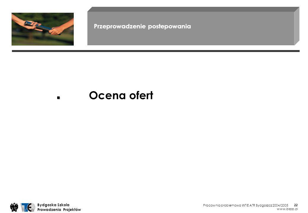 Pracownia problemowa WTiE ATR Bydgoszcz 2004/2005 Bydgoska Szkola Prowadzenia Projektów www.bspp.pl 22 Przeprowadzenie postepowania Ocena ofert