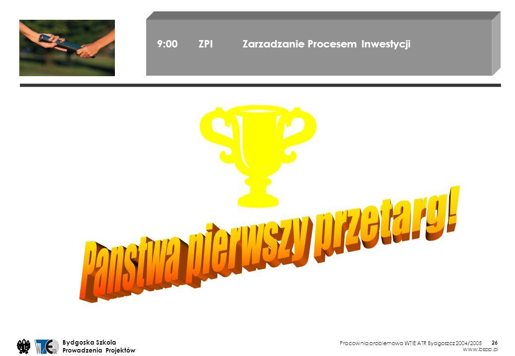 Pracownia problemowa WTiE ATR Bydgoszcz 2004/2005 Bydgoska Szkola Prowadzenia Projektów www.bspp.pl 26 9:00 ZPI Zarzadzanie Procesem Inwestycji