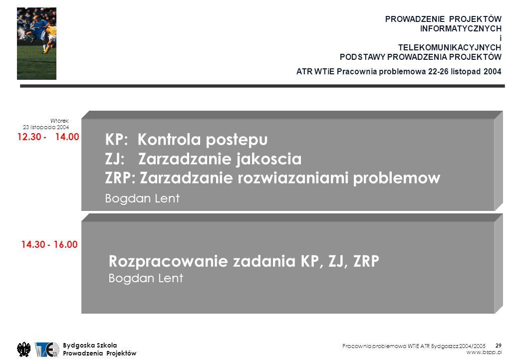 Pracownia problemowa WTiE ATR Bydgoszcz 2004/2005 Bydgoska Szkola Prowadzenia Projektów www.bspp.pl 29 PROWADZENIE PROJEKTÓW INFORMATYCZNYCH i TELEKOMUNIKACYJNYCH PODSTAWY PROWADZENIA PROJEKTÓW ATR WTiE Pracownia problemowa 22-26 listopad 2004 Wtorek 23 listopada 2004 12.30 - 14.00 14.30 - 16.00 KP: Kontrola postepu ZJ: Zarzadzanie jakoscia ZRP: Zarzadzanie rozwiazaniami problemow Bogdan Lent Rozpracowanie zadania KP, ZJ, ZRP Bogdan Lent