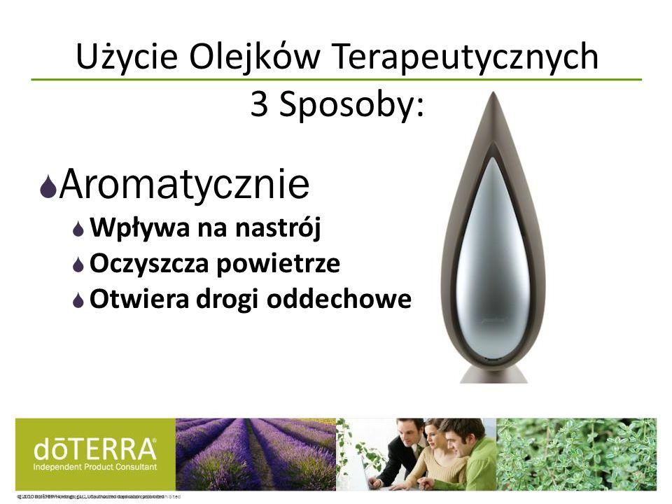 © 2008 dōTERRA Holdings, LLC, Unauthorized duplication prohibited Aromatycznie Wpływa na nastrój Oczyszcza powietrze Otwiera drogi oddechowe Użycie Ol