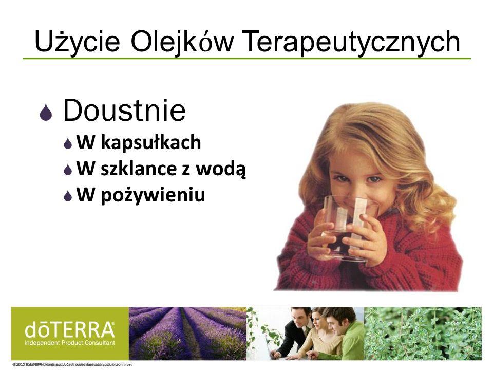 © 2008 dōTERRA Holdings, LLC, Unauthorized duplication prohibited Doustnie W kapsułkach W szklance z wodą W pożywieniu Użycie Olejk w Terapeutycznych