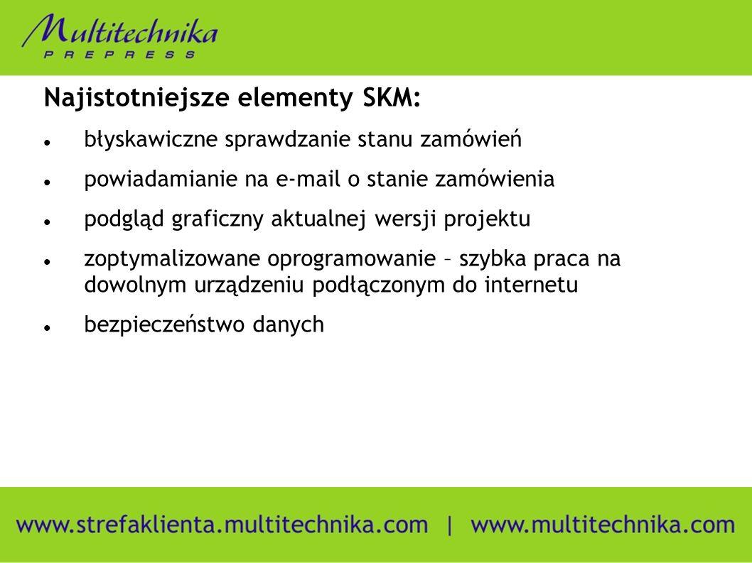 Najistotniejsze elementy SKM: błyskawiczne sprawdzanie stanu zamówień powiadamianie na e-mail o stanie zamówienia podgląd graficzny aktualnej wersji projektu zoptymalizowane oprogramowanie – szybka praca na dowolnym urządzeniu podłączonym do internetu bezpieczeństwo danych