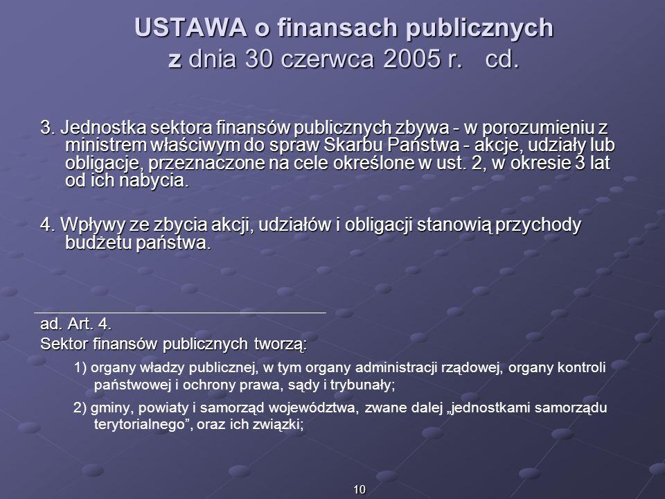 10 USTAWA o finansach publicznych z dnia 30 czerwca 2005 r. cd. 3. Jednostka sektora finansów publicznych zbywa - w porozumieniu z ministrem właściwym