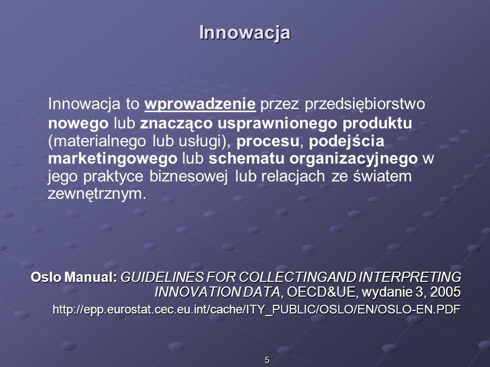 5 Innowacja Innowacja to wprowadzenie przez przedsiębiorstwo nowego lub znacząco usprawnionego produktu (materialnego lub usługi), procesu, podejścia