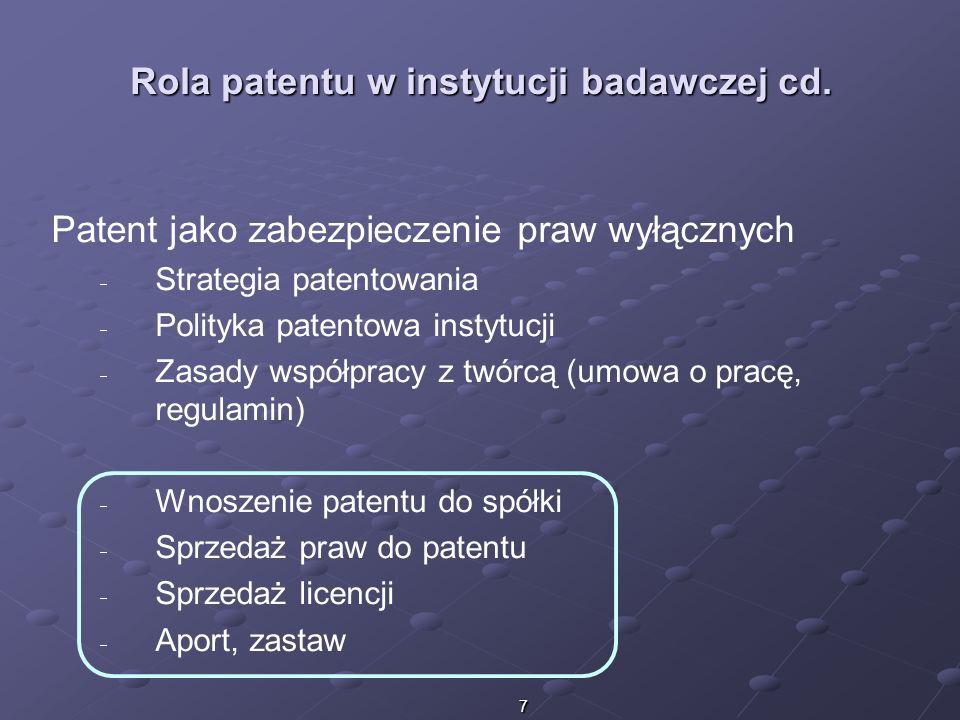 7 Rola patentu w instytucji badawczej cd. Patent jako zabezpieczenie praw wyłącznych Strategia patentowania Polityka patentowa instytucji Zasady współ