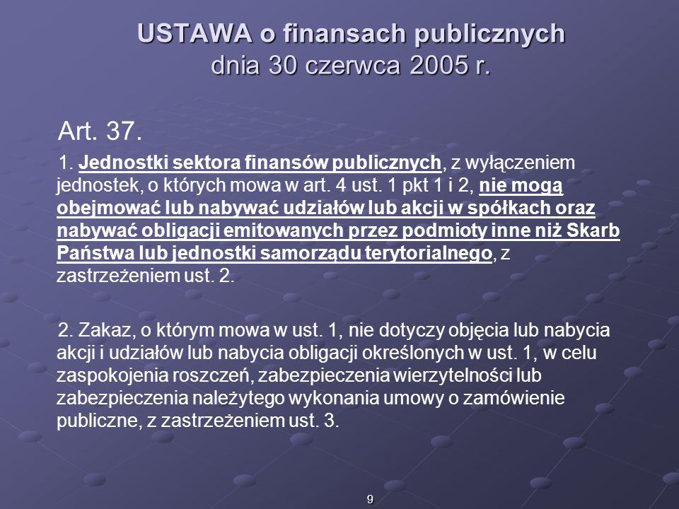 9 USTAWA o finansach publicznych dnia 30 czerwca 2005 r. Art. 37. 1. Jednostki sektora finansów publicznych, z wyłączeniem jednostek, o których mowa w