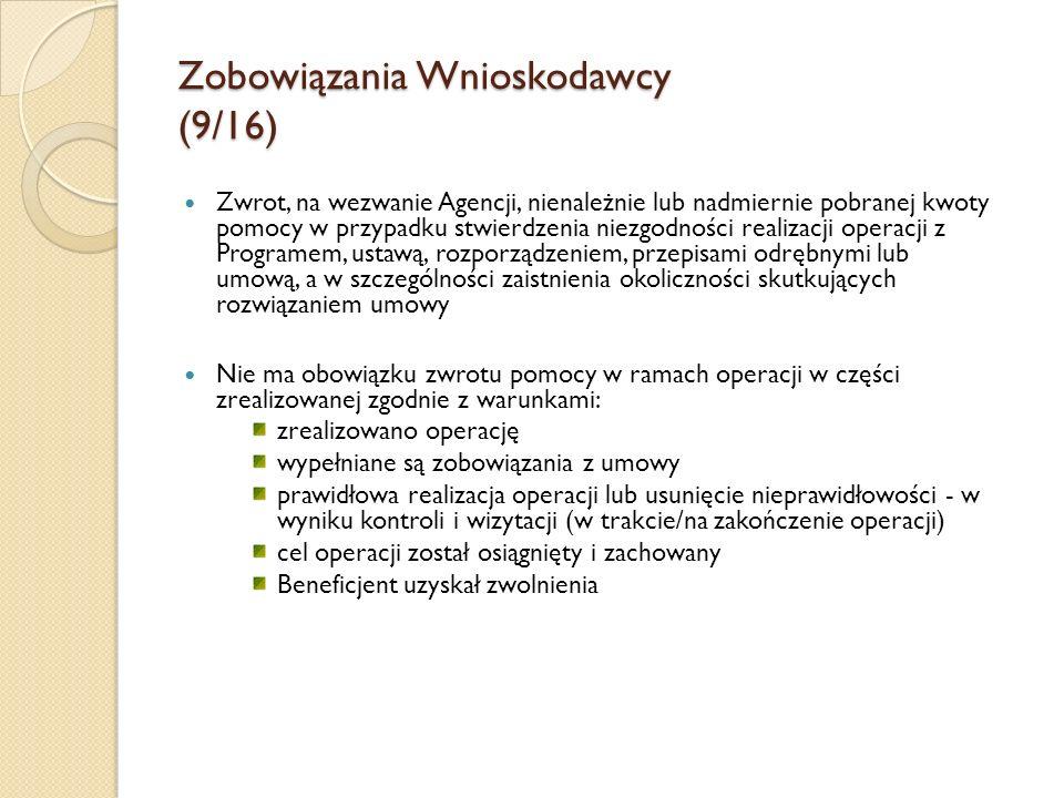 Zobowiązania Wnioskodawcy (9/16) Zwrot, na wezwanie Agencji, nienależnie lub nadmiernie pobranej kwoty pomocy w przypadku stwierdzenia niezgodności re