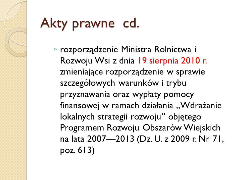 Akty prawne cd. rozporządzenie Ministra Rolnictwa i Rozwoju Wsi z dnia 19 sierpnia 2010 r. zmieniające rozporządzenie w sprawie szczegółowych warunków