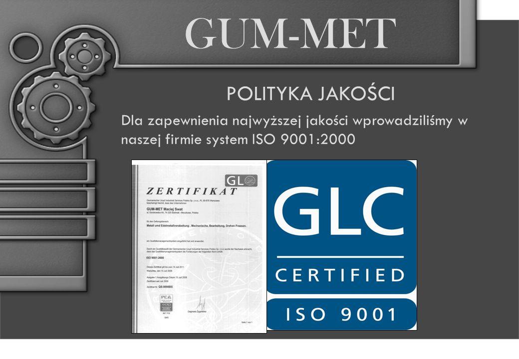 POLITYKA JAKOŚCI Dla zapewnienia najwyższej jakości wprowadziliśmy w naszej firmie system ISO 9001:2000