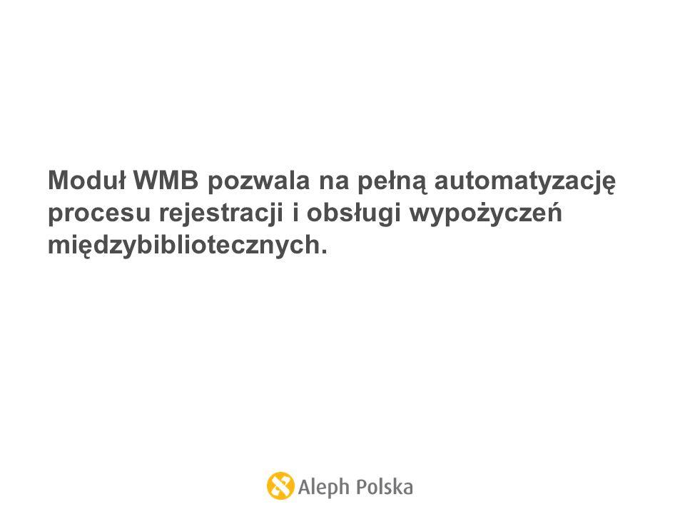 Moduł WMB pozwala na pełną automatyzację procesu rejestracji i obsługi wypożyczeń międzybibliotecznych.