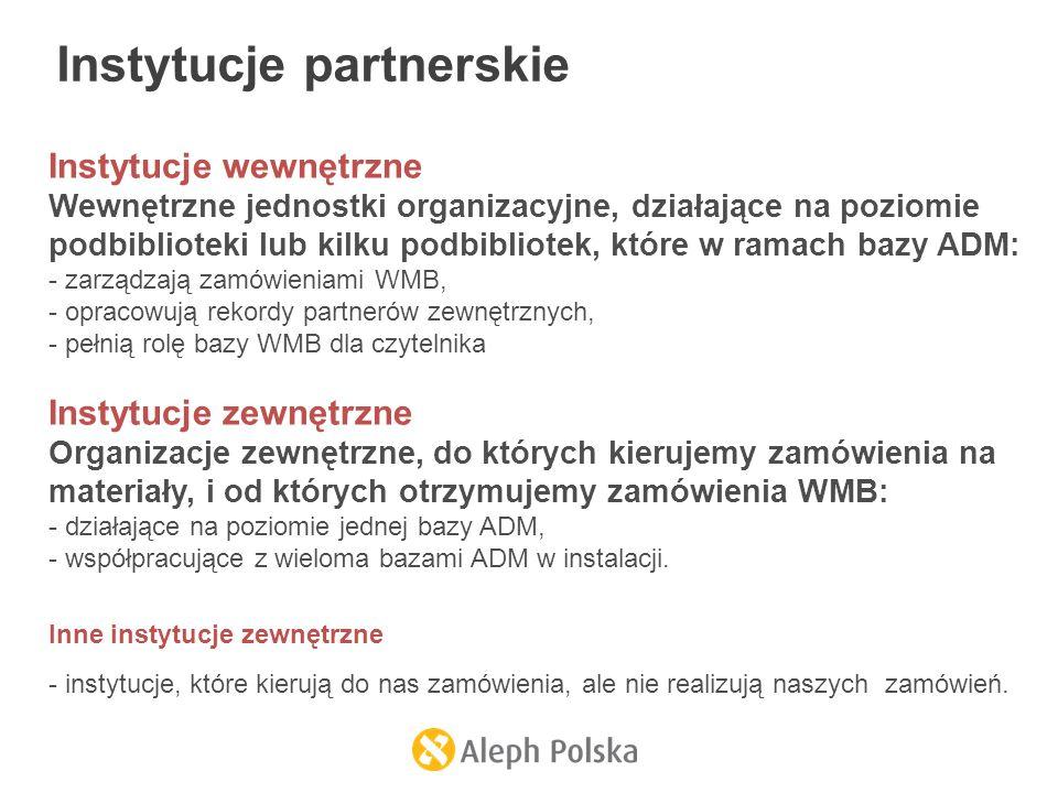 Instytucje wewnętrzne Wewnętrzne jednostki organizacyjne, działające na poziomie podbiblioteki lub kilku podbibliotek, które w ramach bazy ADM: - zarządzają zamówieniami WMB, - opracowują rekordy partnerów zewnętrznych, - pełnią rolę bazy WMB dla czytelnika Instytucje zewnętrzne Organizacje zewnętrzne, do których kierujemy zamówienia na materiały, i od których otrzymujemy zamówienia WMB: - działające na poziomie jednej bazy ADM, - współpracujące z wieloma bazami ADM w instalacji.
