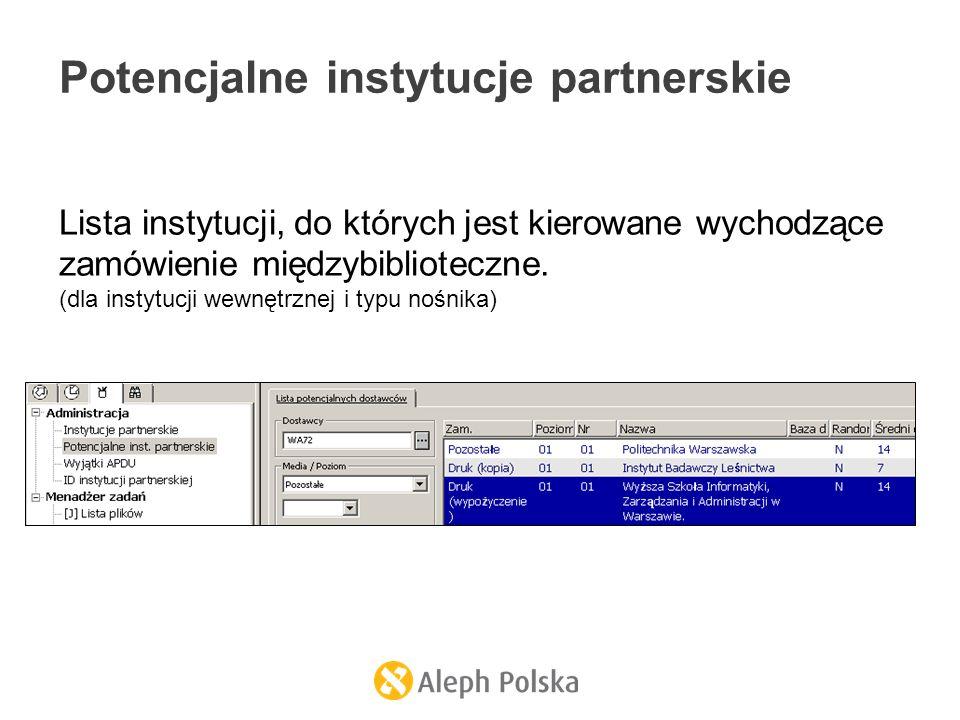 Potencjalne instytucje partnerskie Lista instytucji, do których jest kierowane wychodzące zamówienie międzybiblioteczne. (dla instytucji wewnętrznej i