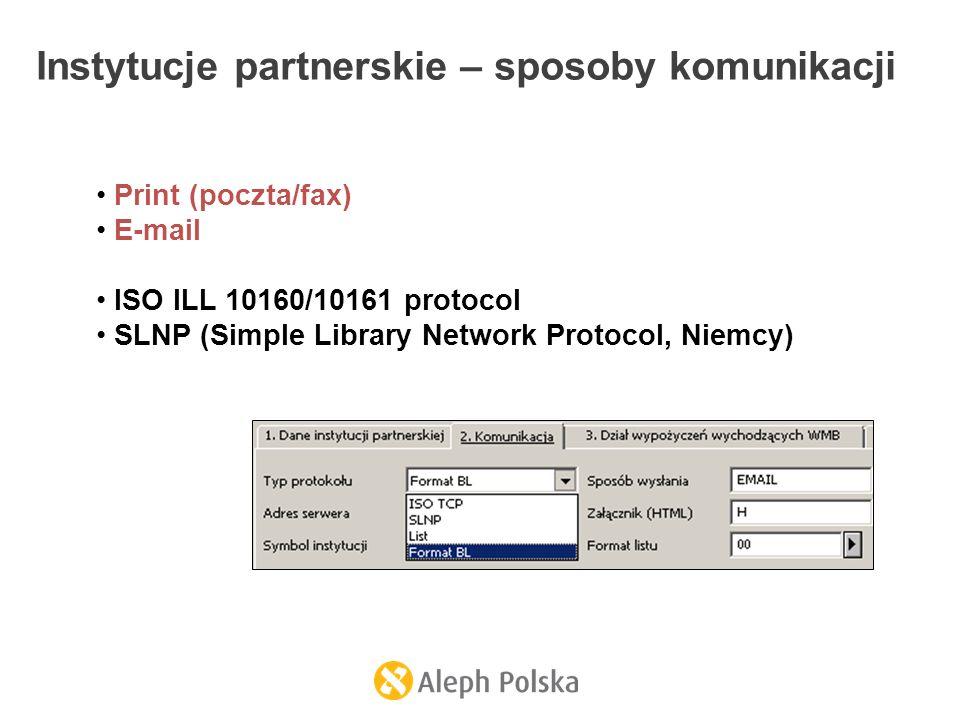 Instytucje partnerskie – sposoby komunikacji Print (poczta/fax) E-mail ISO ILL 10160/10161 protocol SLNP (Simple Library Network Protocol, Niemcy)