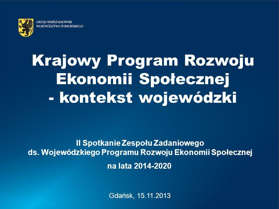 Gdańsk, 15.11.2013 II Spotkanie Zespołu Zadaniowego ds. Wojewódzkiego Programu Rozwoju Ekonomii Społecznej na lata 2014-2020 Krajowy Program Rozwoju E