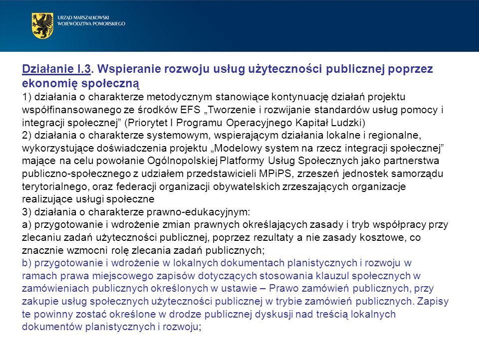 Działanie I.3. Wspieranie rozwoju usług użyteczności publicznej poprzez ekonomię społeczną 1) działania o charakterze metodycznym stanowiące kontynuac