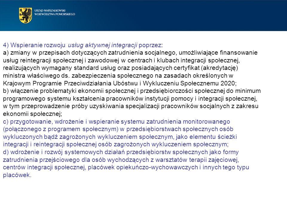 4) Wspieranie rozwoju usług aktywnej integracji poprzez: a) zmiany w przepisach dotyczących zatrudnienia socjalnego, umożliwiające finansowanie usług
