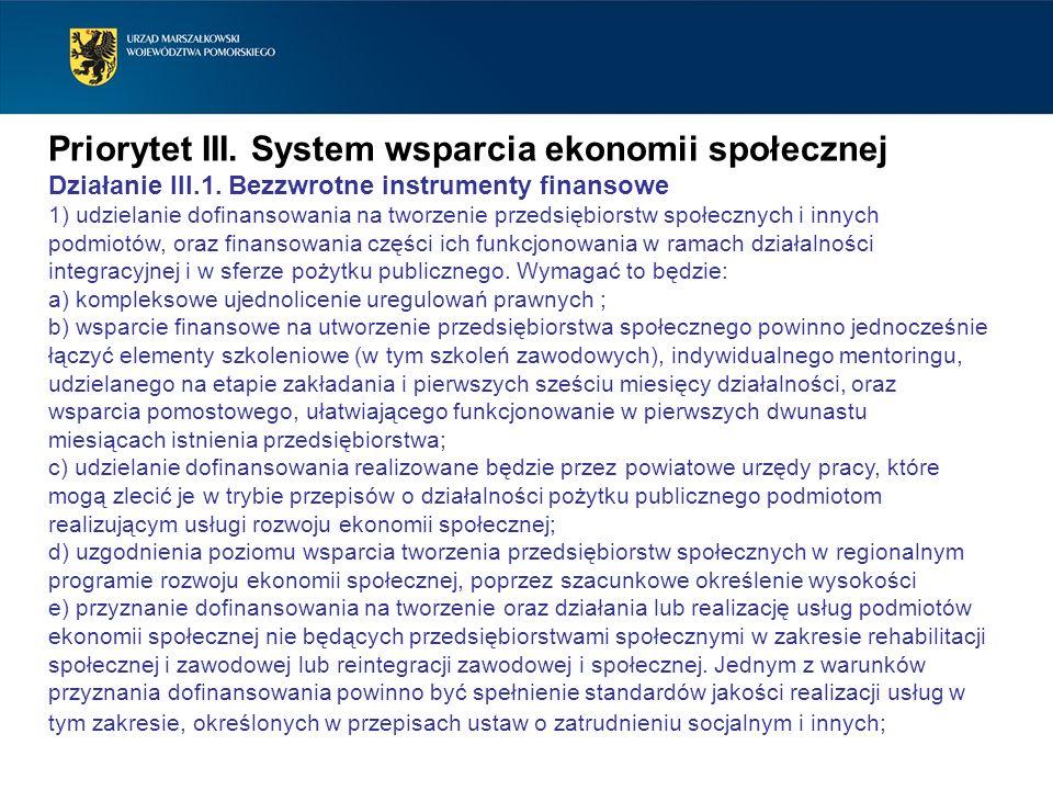 Priorytet III. System wsparcia ekonomii społecznej Działanie III.1. Bezzwrotne instrumenty finansowe 1) udzielanie dofinansowania na tworzenie przedsi