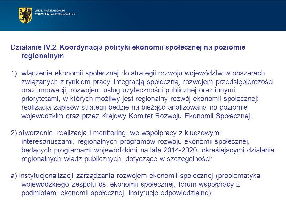 Działanie IV.2. Koordynacja polityki ekonomii społecznej na poziomie regionalnym 1)włączenie ekonomii społecznej do strategii rozwoju województw w obs