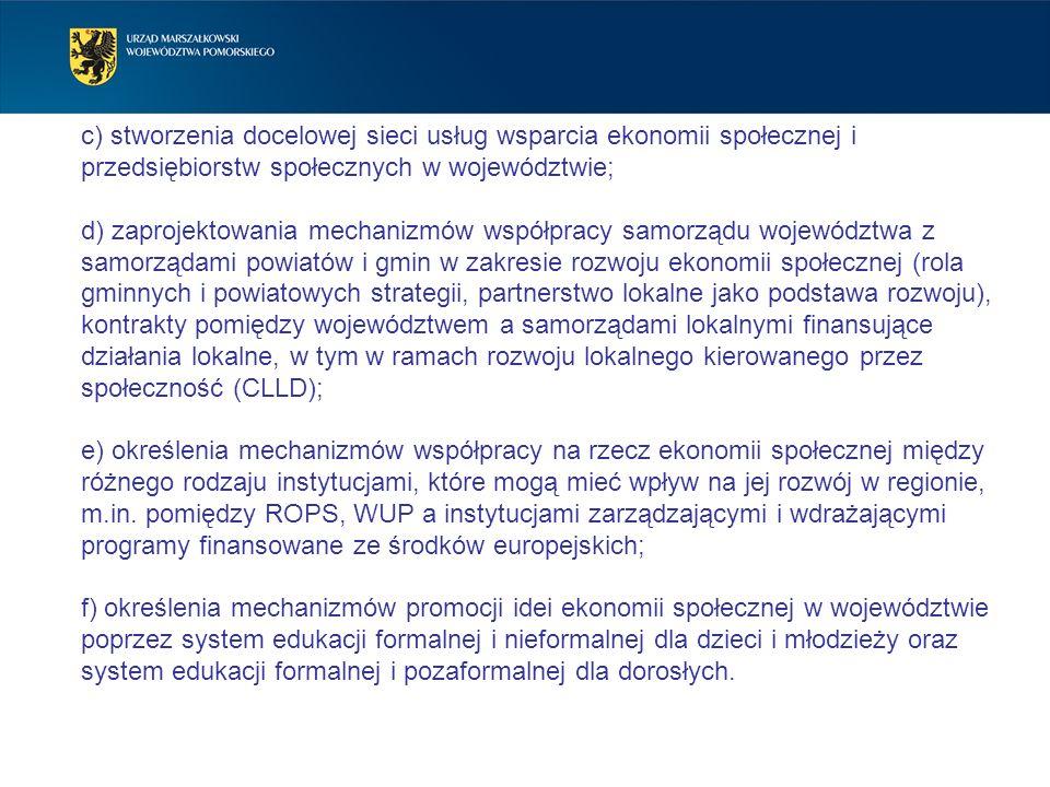 c) stworzenia docelowej sieci usług wsparcia ekonomii społecznej i przedsiębiorstw społecznych w województwie; d) zaprojektowania mechanizmów współpra