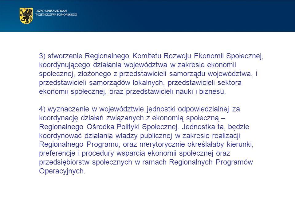3) stworzenie Regionalnego Komitetu Rozwoju Ekonomii Społecznej, koordynującego działania województwa w zakresie ekonomii społecznej, złożonego z prze