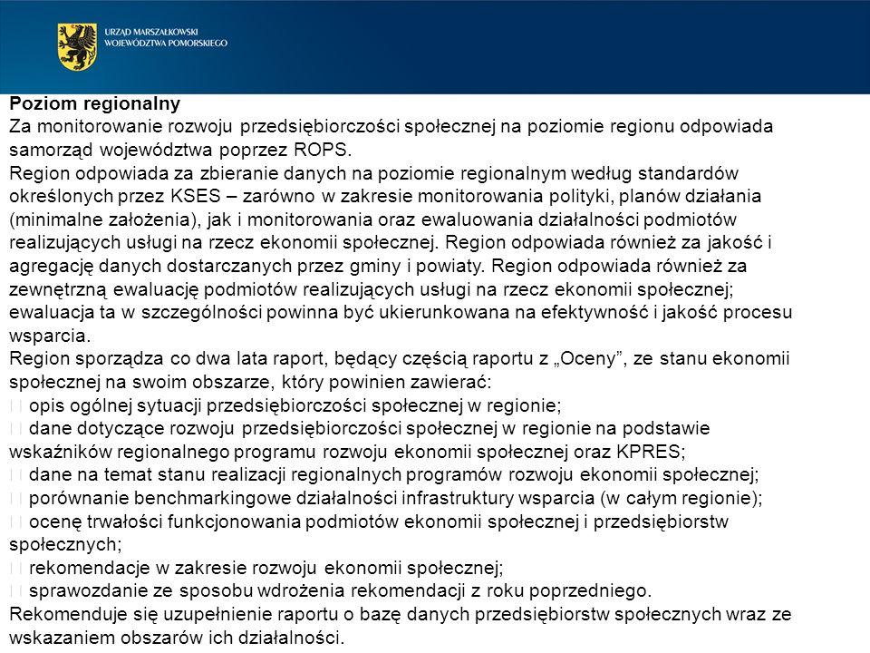 Poziom regionalny Za monitorowanie rozwoju przedsiębiorczości społecznej na poziomie regionu odpowiada samorząd województwa poprzez ROPS. Region odpow