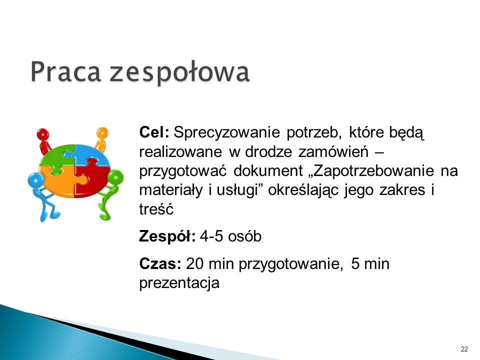 22 Cel: Sprecyzowanie potrzeb, które będą realizowane w drodze zamówień – przygotować dokument Zapotrzebowanie na materiały i usługi określając jego z