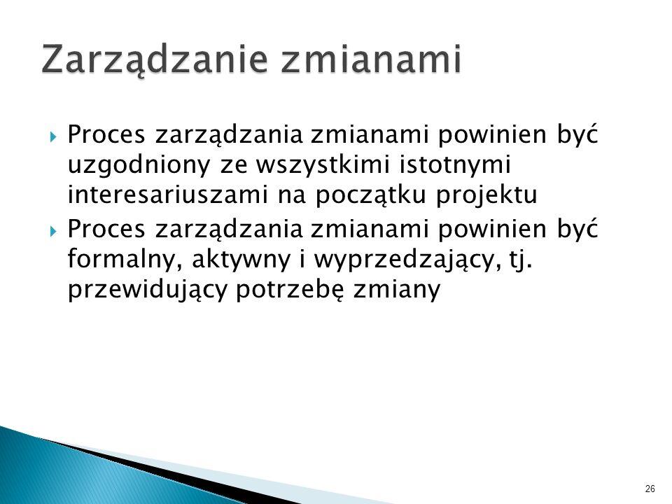 Proces zarządzania zmianami powinien być uzgodniony ze wszystkimi istotnymi interesariuszami na początku projektu Proces zarządzania zmianami powinien