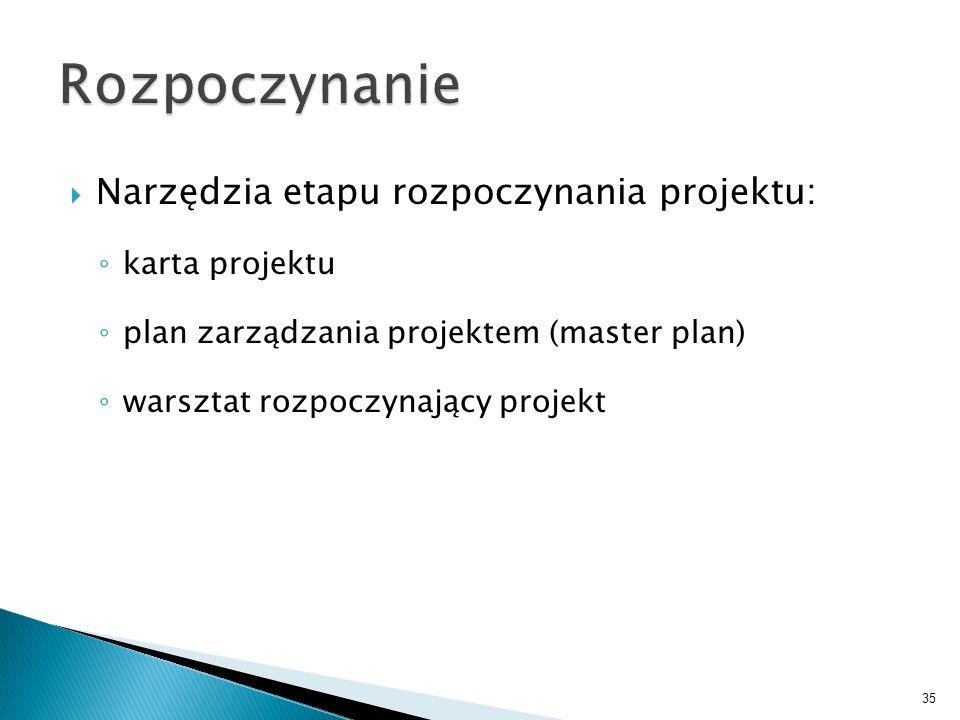 Narzędzia etapu rozpoczynania projektu: karta projektu plan zarządzania projektem (master plan) warsztat rozpoczynający projekt 35