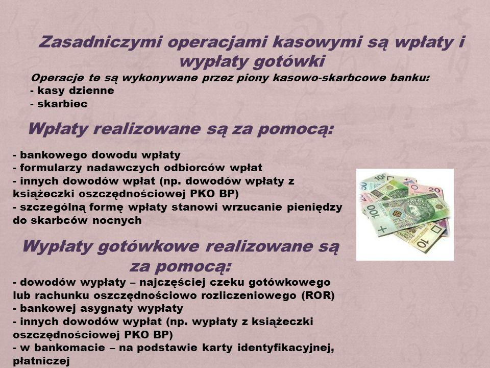 Wpłaty realizowane są za pomocą: - bankowego dowodu wpłaty - formularzy nadawczych odbiorców wpłat - innych dowodów wpłat (np. dowodów wpłaty z książe