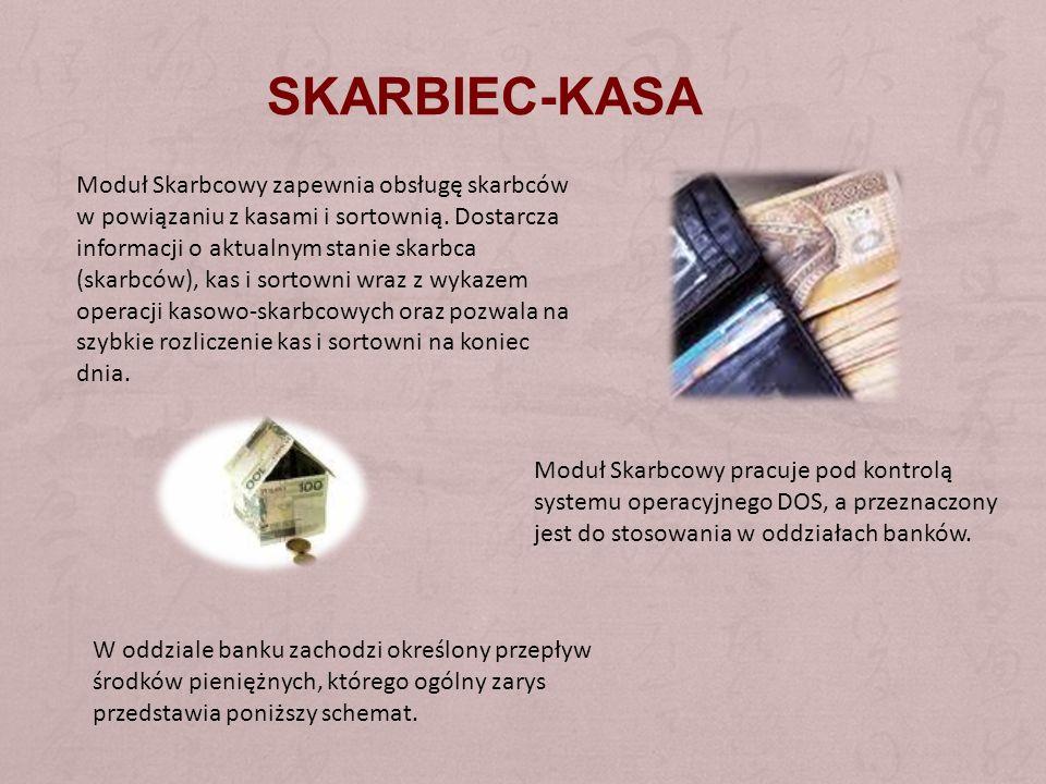 SKARBIEC-KASA Moduł Skarbcowy zapewnia obsługę skarbców w powiązaniu z kasami i sortownią. Dostarcza informacji o aktualnym stanie skarbca (skarbców),