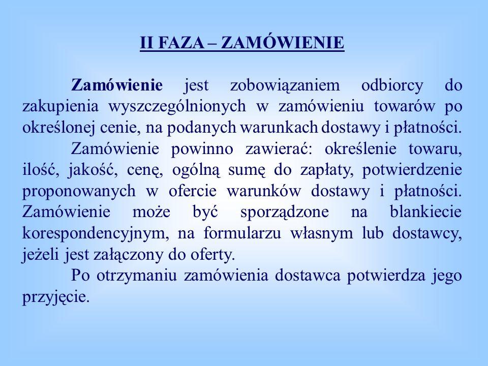 III FAZA – DOSTAWA W fazie tej mogą wystąpić następujące pisma: awizo, specyfikacja wysyłkowa, faktura, dowód przyjęcia, protokół szkody.