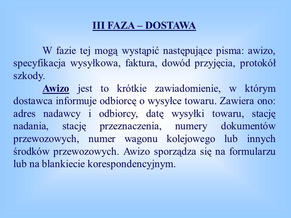 III FAZA – DOSTAWA W fazie tej mogą wystąpić następujące pisma: awizo, specyfikacja wysyłkowa, faktura, dowód przyjęcia, protokół szkody. Awizo jest t
