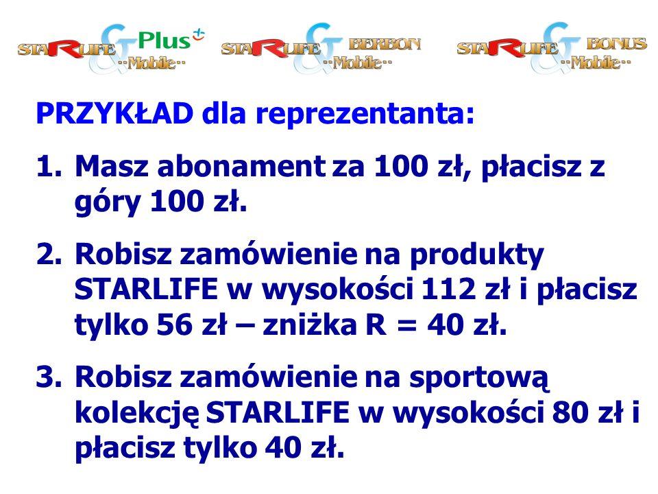 PRZYKŁAD dla reprezentanta: 1.Masz abonament za 100 zł, płacisz z góry 100 zł.