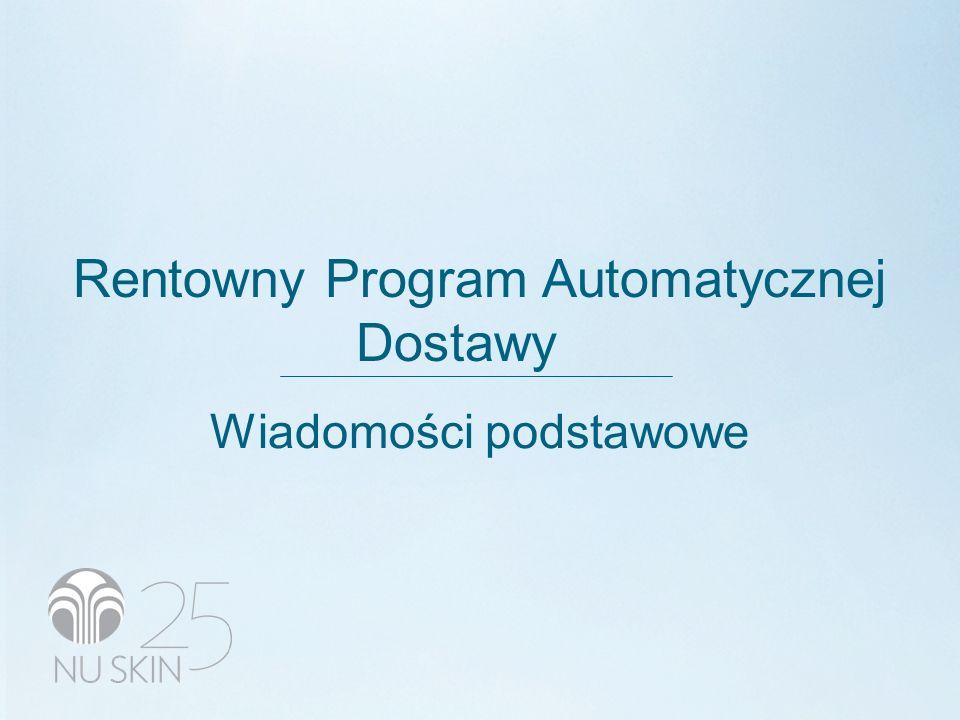 RENTOWNY PROGRAM AUTOMATYCZNEJ DOSTAWY (ADR) (Nowy Program – 1 września 2009 r.) Przykład: LifePak ® - 72,60 PSV 261,40 PLN z 5%-ową redukcją = 248,33 PLN (68,97 PSV) Wysyłka = 9,80 PLN (19,70 PLN) bez VAT Razem = 258,13 PLN bez VAT Całkowite oszczędności = 22,87 PLN (13,07 PLN + 9,80 PLN) Punkty produktowe w wysokości 20% wartości zamówienia (68,97 × 20% = 13,79) Oszczędność w wysokości 22,87 PLN oraz punkty produktowe o wartości 49,64 PLN (13,79 × ERM*) Wartość całkowita = 72,51 PLN Punkty produktowe w wysokości 30% wartości zamówienia (68,97 × 30% = 20,69) Oszczędność w wysokości 22,87 PLN oraz punkty produktowe o wartości 74,48 PLN (20,69 × ERM*) Wartość całkowita = 97,35 PLN PROGRAM AUTOMATYCZNEJ DOSTAWY (ADP)PROGRAM AUTOMATYCZNEJ DOSTAWY (ADP) (Obecny Program) Przykład: LifePak ® - 72,60 PSV 261,40 PLN z 10%-ową redukcją = 235,26 PLN (65,34 PSV) Wysyłka = 9,84 PLN (9,84 PLN) bez VAT Razem = 25,10 PLN bez VAT Całkowite oszczędności = 26,14 PLN (246,14 PLN + 0,0 PLN) Wartość całkowita = 26,14 PLN (oszczędności) WALORY PROGRAMU ADR wartość wyższa o 177,4% wartość wyższa o 272,4% To po prostu ZNACZNIE WYŻSZA WARTOŚĆ.