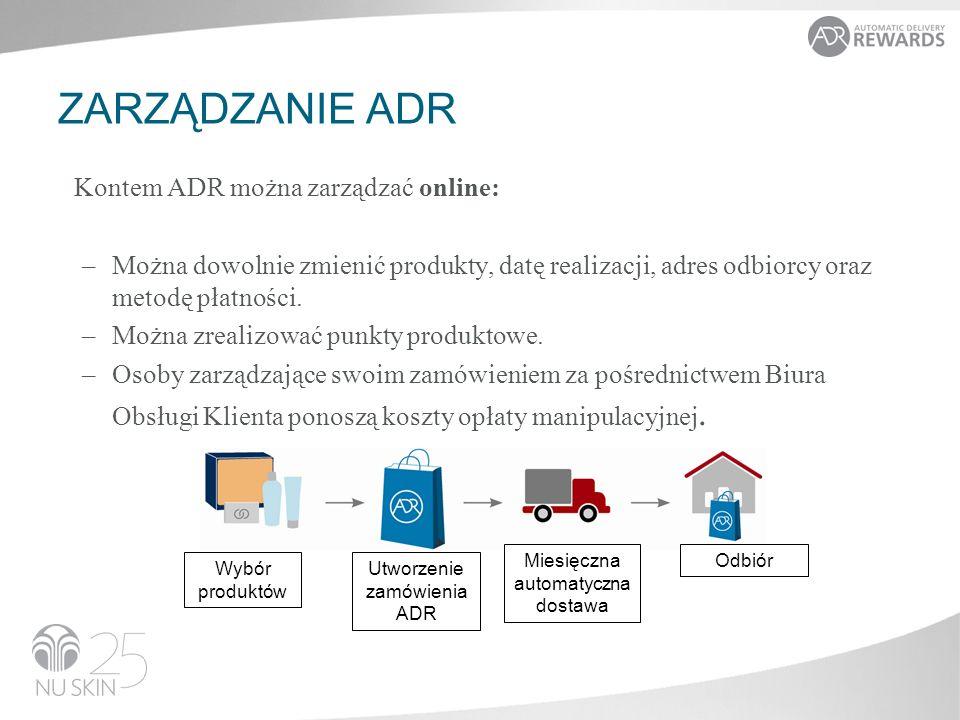 ZARZĄDZANIE ADR Kontem ADR można zarządzać online: –Można dowolnie zmienić produkty, datę realizacji, adres odbiorcy oraz metodę płatności.