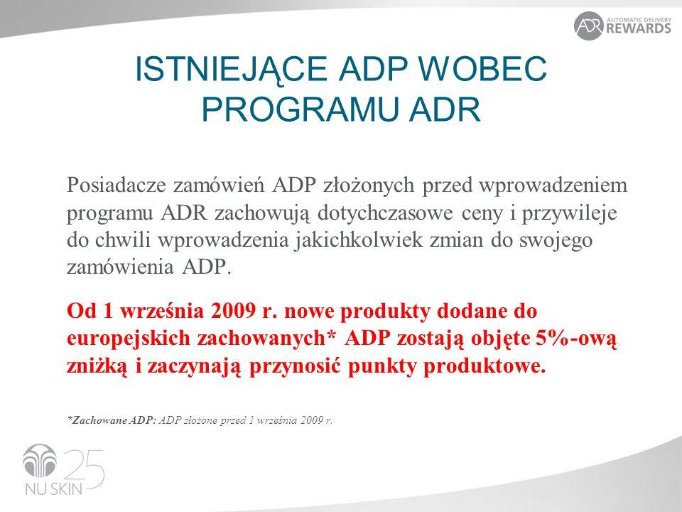 Posiadacze zamówień ADP złożonych przed wprowadzeniem programu ADR zachowują dotychczasowe ceny i przywileje do chwili wprowadzenia jakichkolwiek zmian do swojego zamówienia ADP.