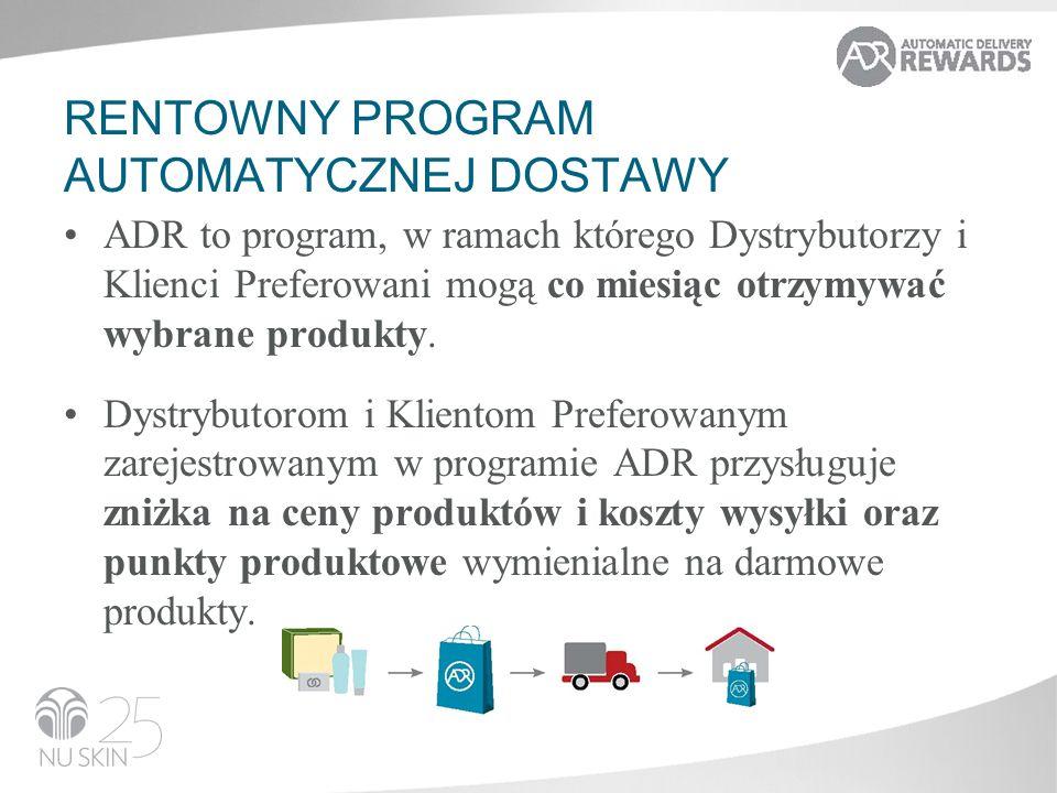 RENTOWNY PROGRAM AUTOMATYCZNEJ DOSTAWY ADR to program, w ramach którego Dystrybutorzy i Klienci Preferowani mogą co miesiąc otrzymywać wybrane produkty.