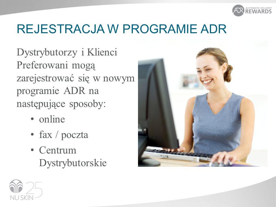 REJESTRACJA W PROGRAMIE ADR Dystrybutorzy i Klienci Preferowani mogą zarejestrować się w nowym programie ADR na następujące sposoby: online fax / poczta Centrum Dystrybutorskie