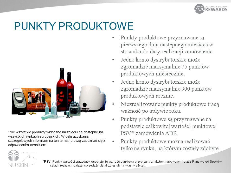 PUNKTY PRODUKTOWE Dystrybutorzy i Klienci Preferowani mogą realizować swoje punkty produktowe na następujące sposoby: online fax/poczta Centrum Dystrybutorskie Wymienianie punktów produktowych na darmowe produkty: Wartość punktowa pożądanych darmowych produktów musi zostać w pełni pokryta zgromadzonymi punktami produktowymi.