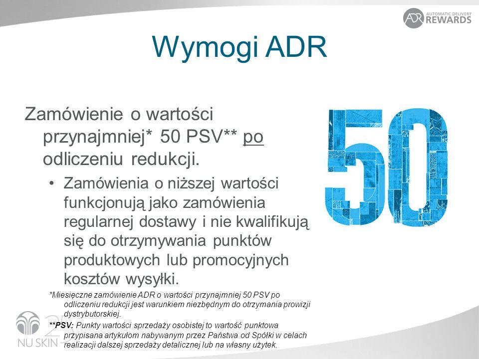 Wymogi ADR Zamówienie o wartości przynajmniej* 50 PSV** po odliczeniu redukcji.