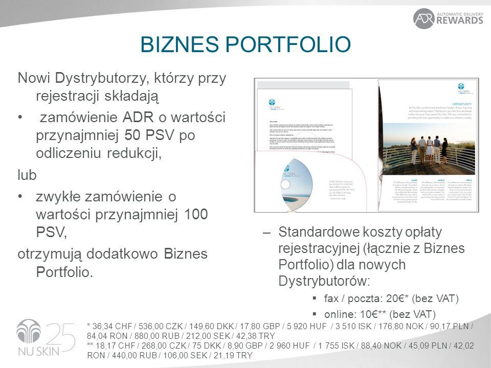 BIZNES PORTFOLIO Nowi Dystrybutorzy, którzy przy rejestracji składają zamówienie ADR o wartości przynajmniej 50 PSV po odliczeniu redukcji, lub zwykłe zamówienie o wartości przynajmniej 100 PSV, otrzymują dodatkowo Biznes Portfolio.