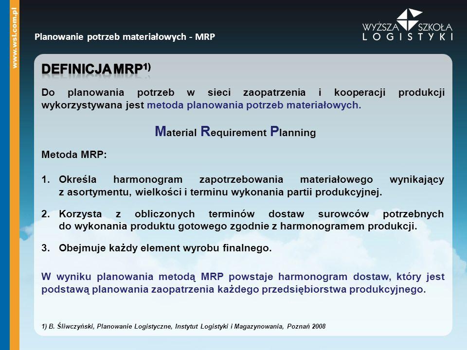 Planowanie potrzeb materiałowych - MRP M aterial R equirement P lanning