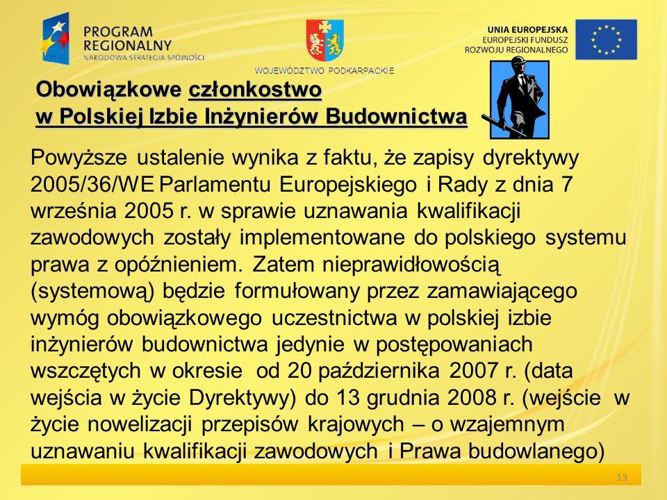 Obowiązkowe członkostwo w Polskiej Izbie Inżynierów Budownictwa Powyższe ustalenie wynika z faktu, że zapisy dyrektywy 2005/36/WE Parlamentu Europejsk