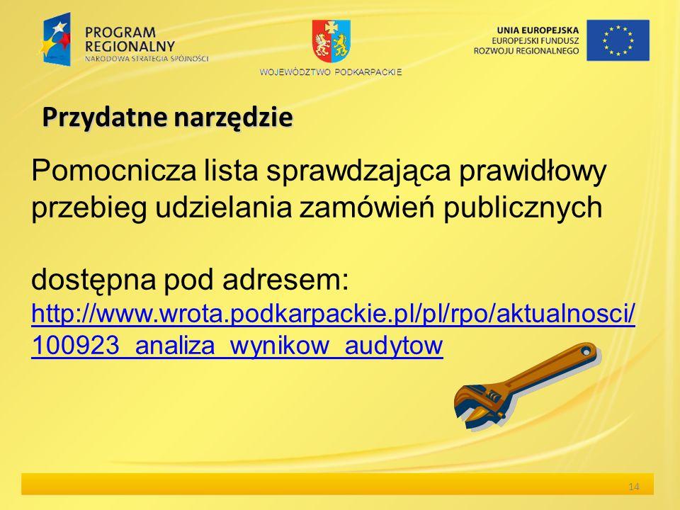 Przydatne narzędzie Pomocnicza lista sprawdzająca prawidłowy przebieg udzielania zamówień publicznych dostępna pod adresem: http://www.wrota.podkarpac