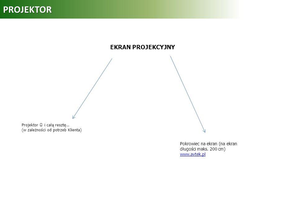 PROJEKTOR Projektor i całą resztę… (w zależności od potrzeb Klienta) Pokrowiec na ekran (na ekran długości maks. 200 cm) www.avtek.pl