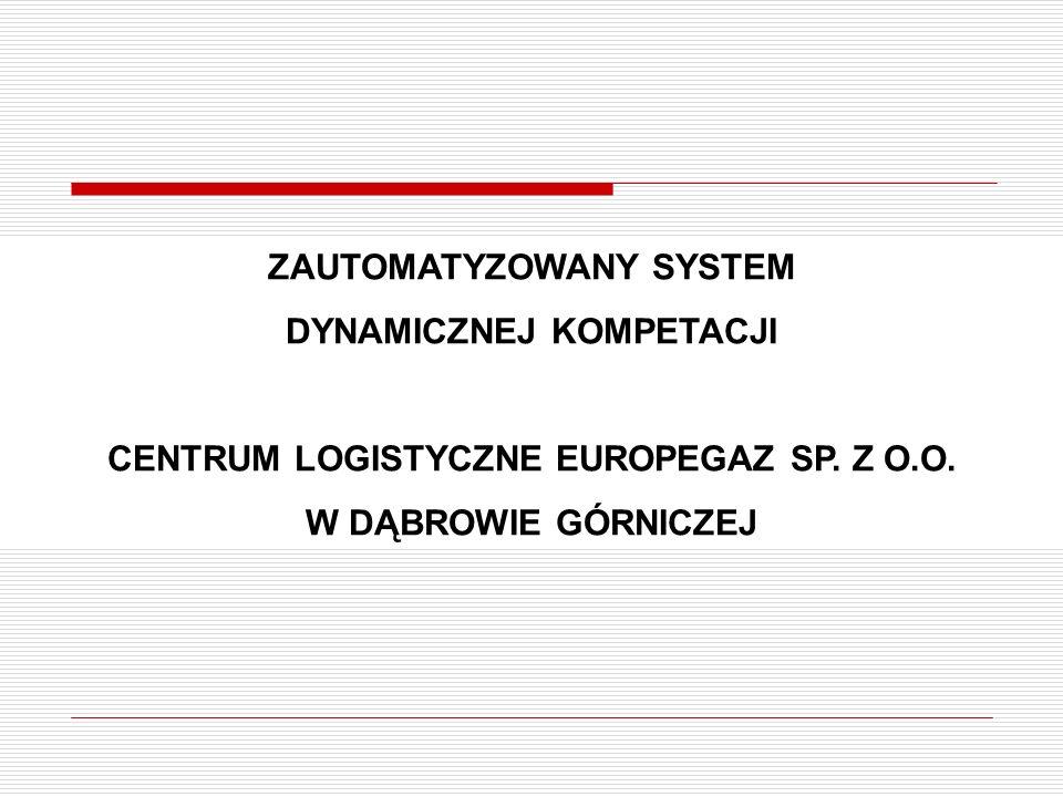 ZAUTOMATYZOWANY SYSTEM DYNAMICZNEJ KOMPETACJI CENTRUM LOGISTYCZNE EUROPEGAZ SP. Z O.O. W DĄBROWIE GÓRNICZEJ